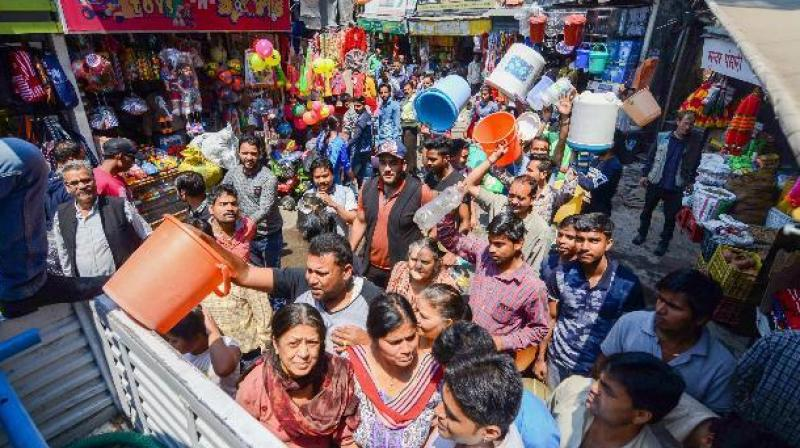 Tourists staying in several hotels in the city are being overcharged for bottled water, and are being supplied water in buckets. (Photo: PTI)