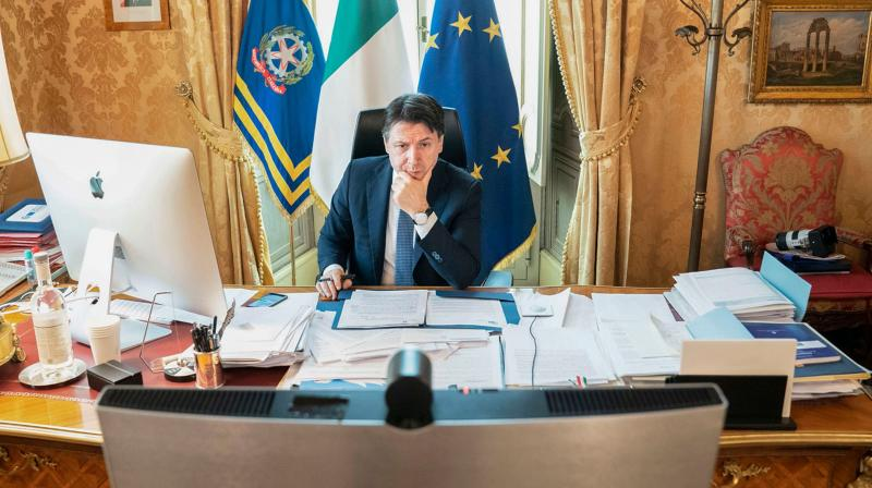 Italy's Prime Minister Giuseppe Conte at his office at Palazzo Chigi in Rome. AFP Photo