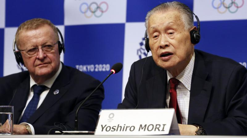 Former Japanese prime minister and Tokyo 2020 organising committee president Yoshiro Mori speaks at a press conference along with IOC president Thomas Bach. AP Photo