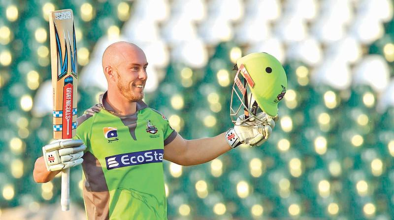 Chris Lynn of Lahore Qalandars celebrates after scoring a century during the Pakistan Super League in Lahore. DC File Photo