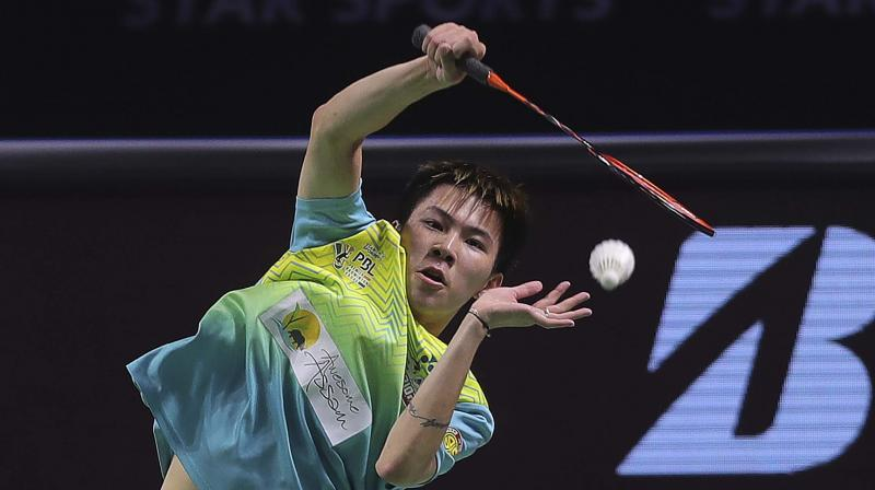 Hong Kong's Lee Cheuk Yiu of North Eastern Warriors plays a shot against Indonesia's Tommy Sugiarto of Chennai Superstarz in Star Sports Premier Badminton League. AP Photo
