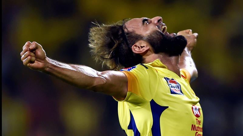 CSK bowler Imran Tahir lets go a war cry after dismissing Delhi Capital's batsman Rishabh Pant during the Indian Premier League 2019. PTI Photo