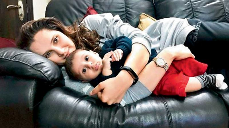 Sania Mirza with her son Izhaan. DC File Photo