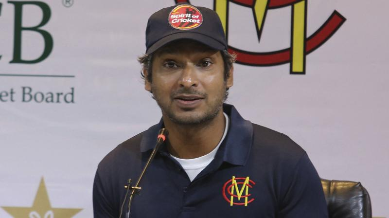 Former Sri Lankan captain Kumar Sangakkara, who led a Marylebone Cricket Club (MCC) team to support international tours of Pakistan, addreeses media in Lahore. The London-based MCC played four limited-overs matches against local teams. AP Photo