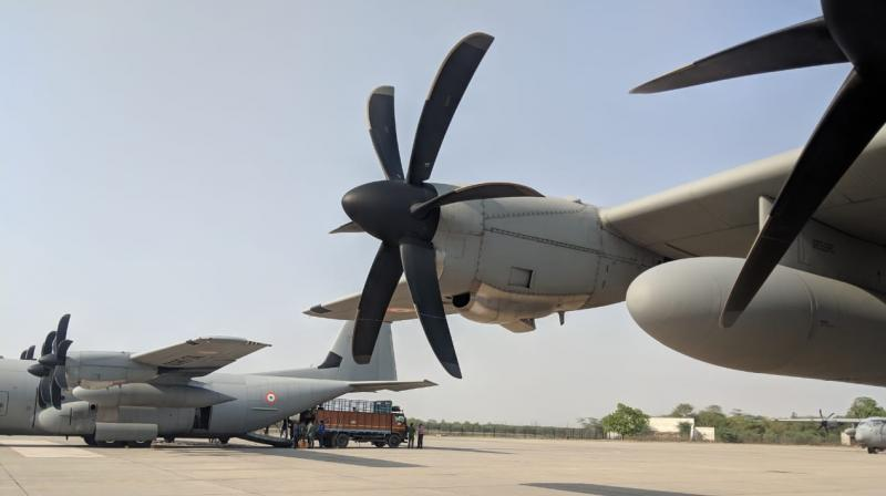 Relief materials are being uploaded in C130J Super Hercules aircrafts. (Photo: Rajib Chowdhuri)