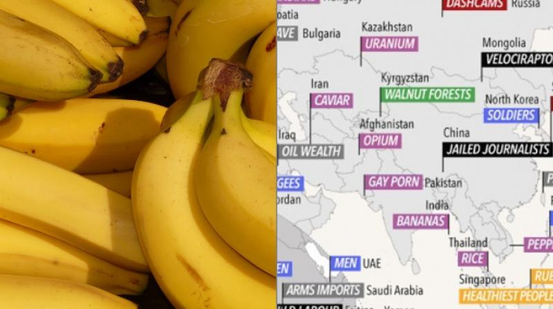On the data map made by David McCandless, India is famous for banana consumption the most while also being famous for milk and films.
