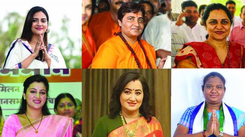 Women politicians Nusrat Jahan Ruhi, Pragya Thakur, Sunita Duggal, Goddeti Madhavi, Sumalatha Ambareesh, Navneet Rana. (Photo: IANS)