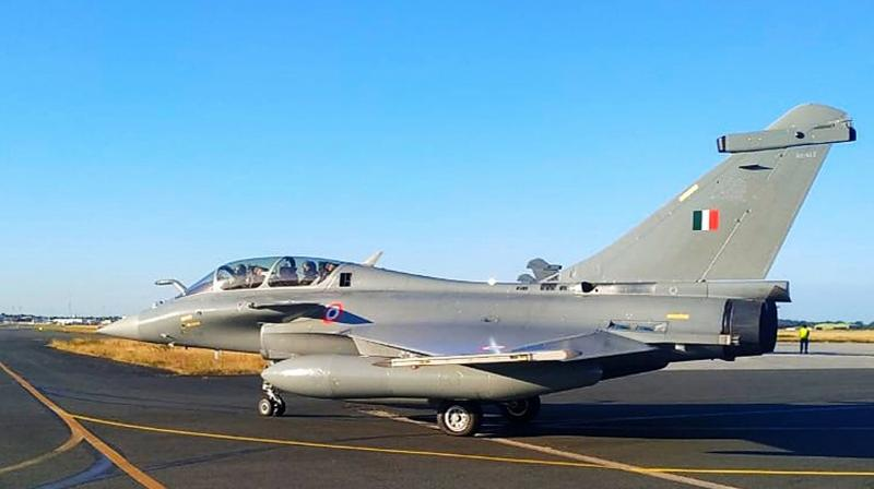 First batch of five Rafale fighter aircraft fly out from France to India. PTI photo