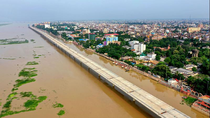 An aerial view of the flooded collectorate ghat at the bank of Ganga river in Patna. PTI photo