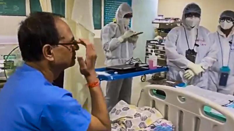 Madhya Pradesh chief minister Shivraj Singh Chouhan at Chirayu Hospital in Bhopal. (PTI)