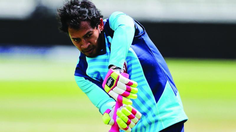 Mushfiqur Rahim of Bangladesh bats during a training session at Edgbaston in Birmingham on Monday. (Photo: AP)