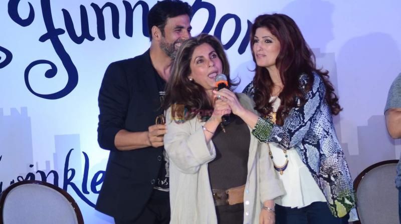 Akshay Kumar, Dimple Kapadia and Twinkle Khanna at the latter's book launch.