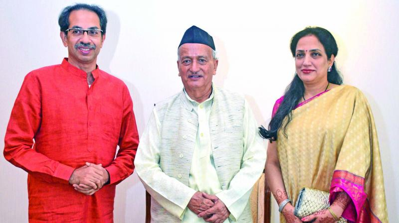 Chief minister-designate Uddhav Thackeray and his wife Rashmi meet governor Bhagat Singh Koshyari at the Raj Bhavan on Wednesday. (Photo: Asian Age)