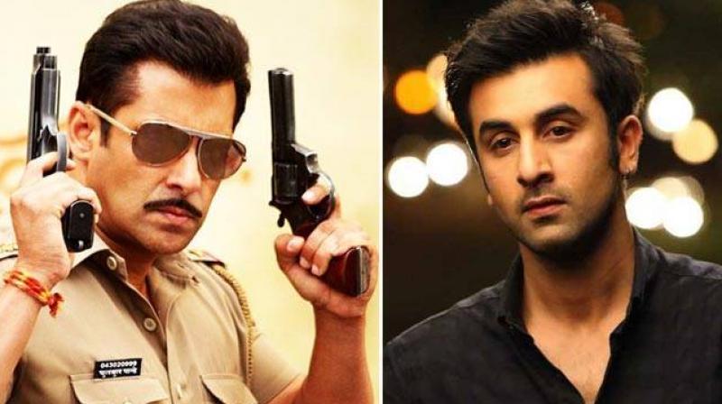 Stills of Salman Khan from 'Dabangg' and Ranbir Kapoor from 'Yeh Jawaani Hai Deewani'.