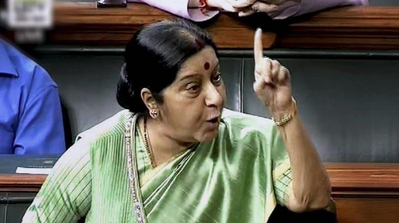 External Affairs Minister Sushma Swaraj speaks in the Lok Sabha in New Delhi on Wednesday. (Photo: PTI)