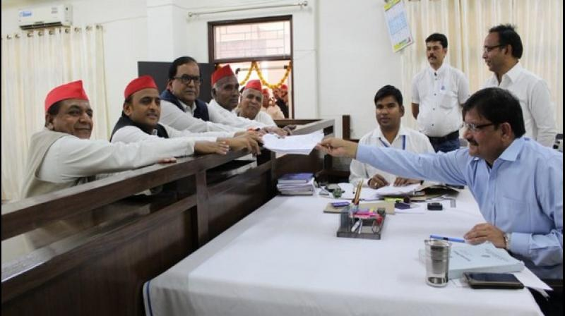 'SP and BSP both have worked together in Azamgarh and 'gathbandhan' will take the state on the path of development,' said Yadav, before filing his nomination papers. (Photo: ANI)