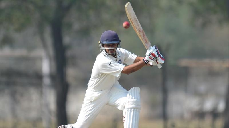 Resuming at an overnight score of 91-1, opener Priyank Panchal (in pic) and Shreyas Iyer struck scorching centuries besides sharing a massive 159-run stand for the opening wicket. (Photo: AFP)