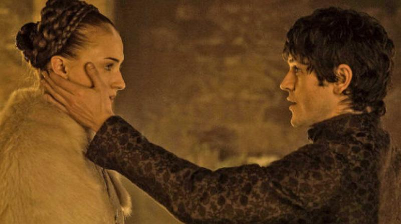 Sophie Turner and Iwan Rheon in a still from the controversial scene in 'Game of Thrones.'