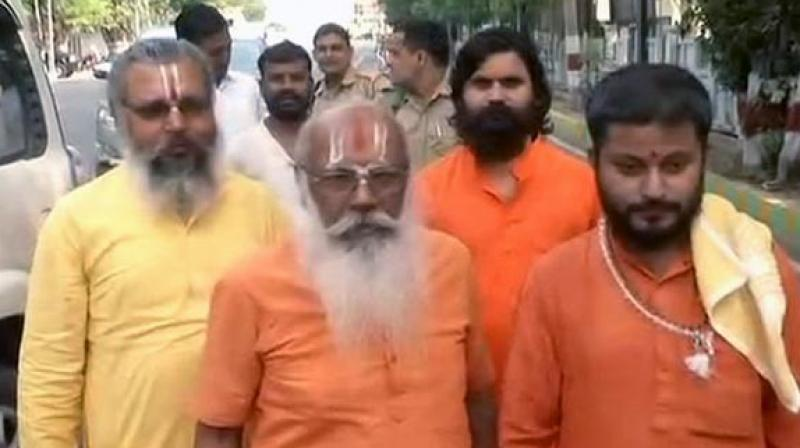 'We had a dialogue with the Chief Minister (Adityanath) about the development of Ram temple and he has assured us that it will be constructed soon,' Mahant Suresh Das said. (Photo: ANI)