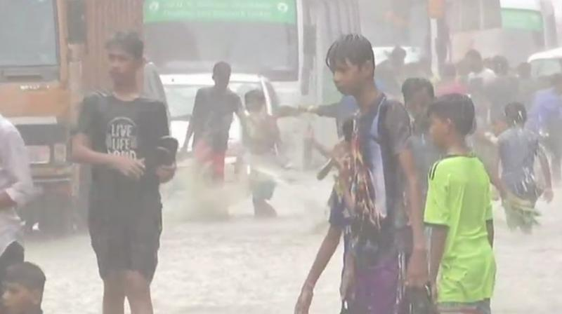 Mumbai rains: Water-logging was reported in several areas as monsoon rain hit Mumbai. (Photo: ANI | Twitter)