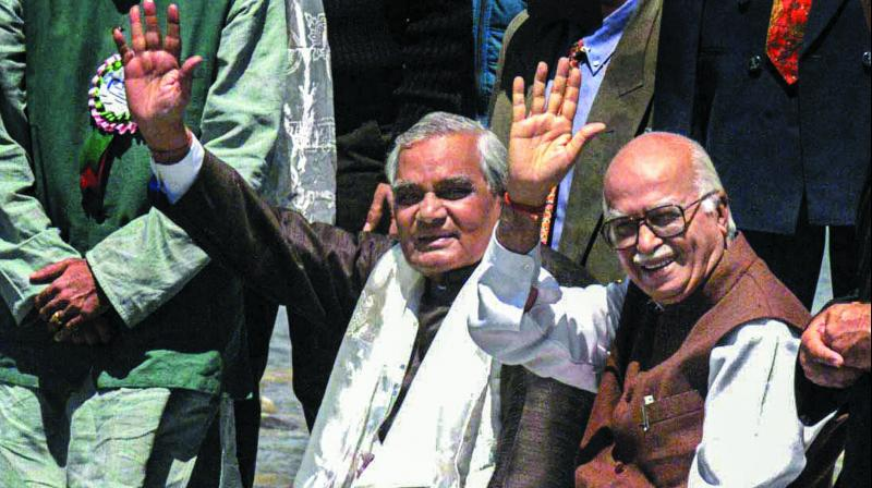 """In this June 7, 2000 photo former Prime Minister Atal Behari Vajpayee is seen with the then home minister L.K. Advani after """"pujan"""" of Sindhu river at Shey, Ladakh. (Photo: PTI )"""