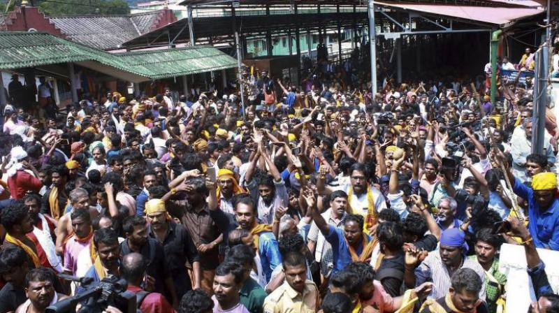 Alleging 'mysterious link between CPI(M) and radical outfits to destroy' the traditions of the Lord Ayyappa temple, a meeting of the Samiti leaders on Thursday also sought an NIA probe into the entry of two women into Sabarimala temple with the support of a Maoist group, hurting sentiments of devotees of Lord Ayyappa. (Photo: File)
