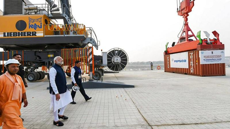 Prime Minister Narendra Modi looks on at India's first multi-modal terminal on the Ganga river during its inaugural function, in Varanasi. (Photo: PTI)