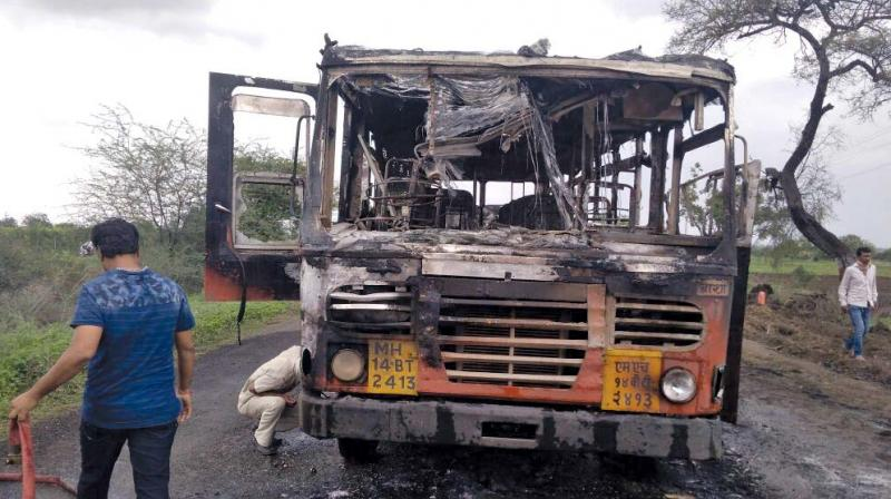 The charred state transport bus.
