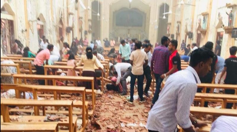 One of the blasts hit St Anthony's Church in Kochchikade of the capital, Colombo. (Photo: Twitter | @aashikchin)