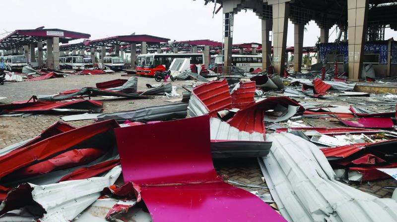 Debris litters the floor at a bus stand in Puri on Sunday after cyclone Fani swept through the area. (Photo: AFP)