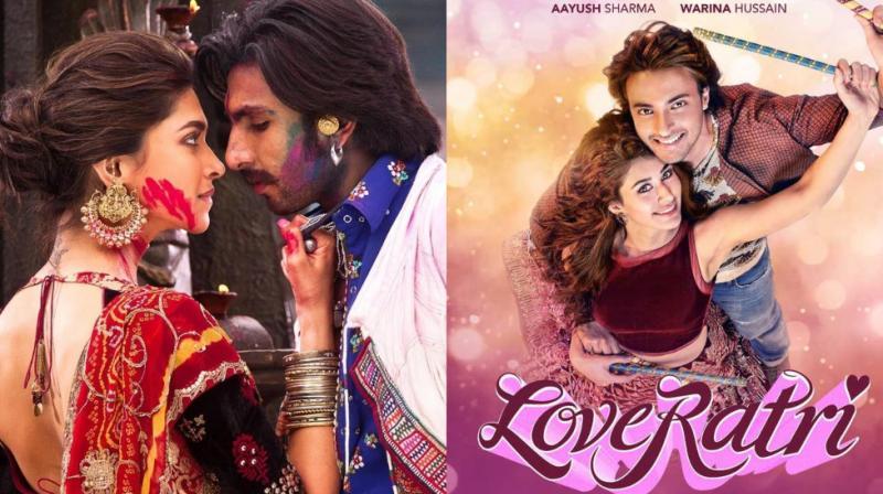 Ranveer Singh and Deepika Padukone in 'Goliyon Ki Rasleela: Ram-Leela' and 'Loveratri' poster.