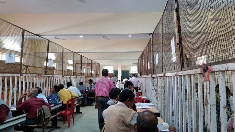 Counting of votes for bypolls to Mungaoli and Kolaras Assembly seats in Madhya Pradesh is underway. (Photo: Twitter | ANI)