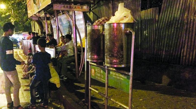 The dustbins installed at a bus stop near Sharda Talkies in Dadar. (Photo: Shripad Naik)
