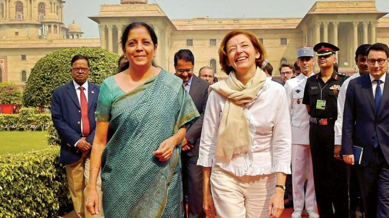 Defence minister Nirmala Sitharaman with her French counterpart Florence Parly, at the South Block in New Delhi. (Photo: PTI)