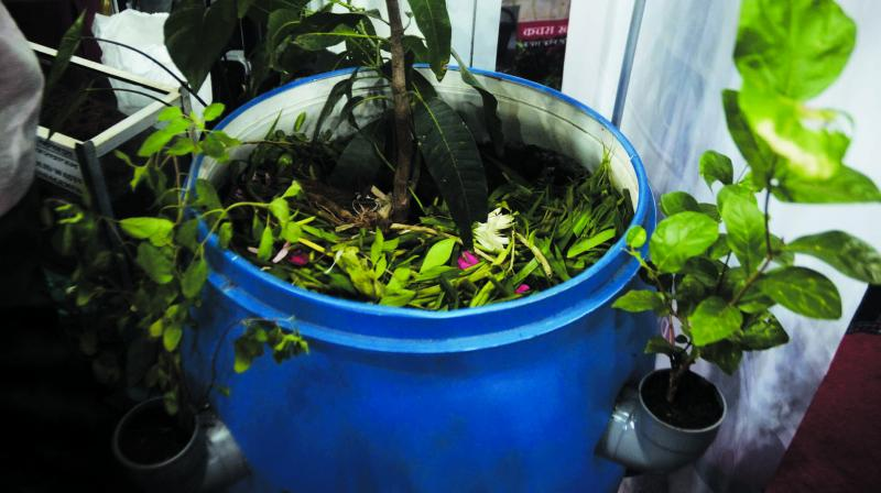 File image of a waste segregation setup at display at an exhibition by the BMC.