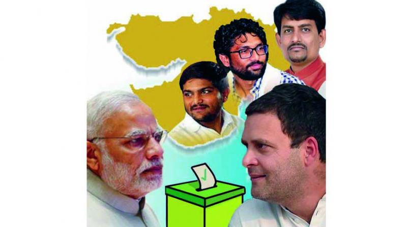 In Gujarat, the BJP is facing an unexpected challenge from the Rahul Gandhi-led Congress. The nearly decimated opposition is back in the game after the shift of the formidable young Patidar-OBC-Dalit leaders in Hardik Patel, Alpesh Thakor and Jignesh Mevani to the Congress camp.