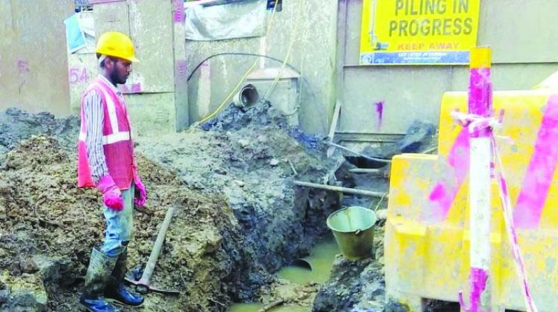 File image of repair works being undertaken after an incident of pipeline burst in South Mumbai.