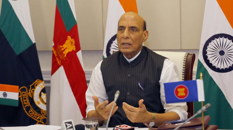 Singh was virtually addressing the ASEAN Defence Ministers' Meeting-Plus. (Photo: Twitter/@rajnathsingh)
