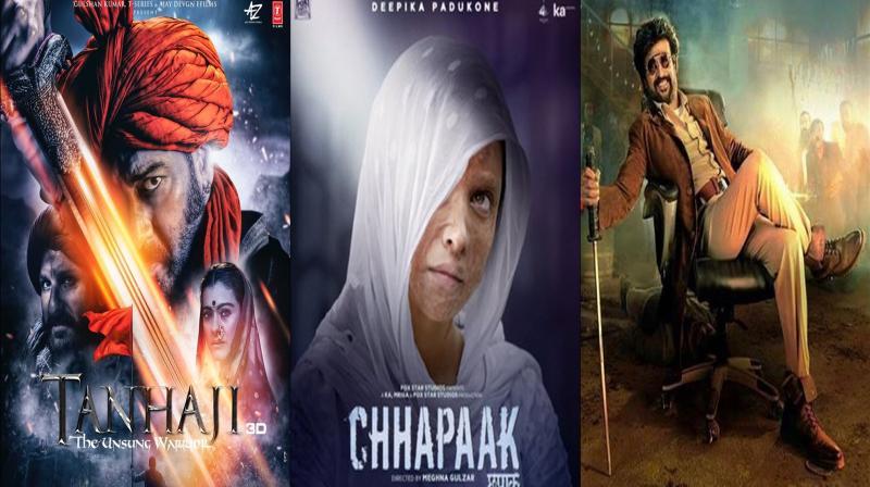 Tanhaji, Chhapaak and Darbar. (Photo: Twitter)