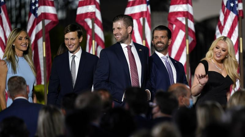 Lara Trump, Jared Kushner, Eric Trump, Donald Trump Jr., and Tiffany Trump and Donald Trump Jr. arrive before President Donald Trump speaks from the South Lawn of the White House on the fourth day of the Republican National Convention. (AP)