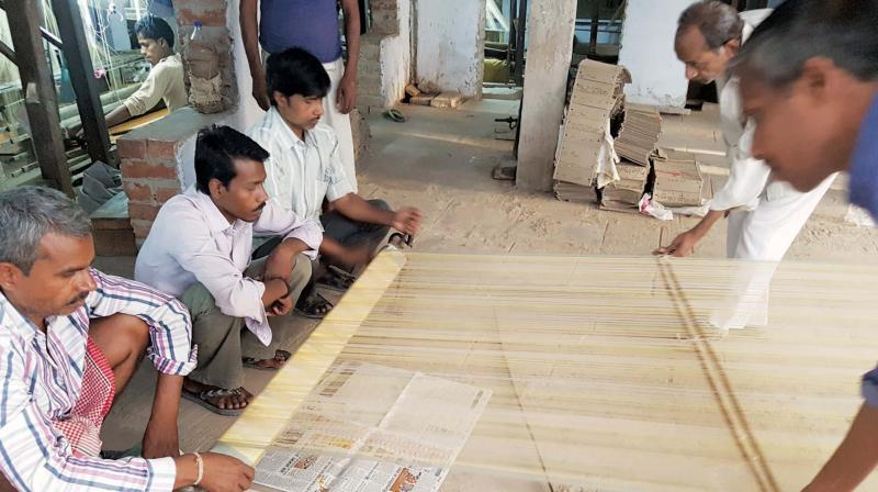 The designer uses natural yarns of cotton and silk, its derivatives or the combination of both and pure silver and gilded gold for zari work to create saris.