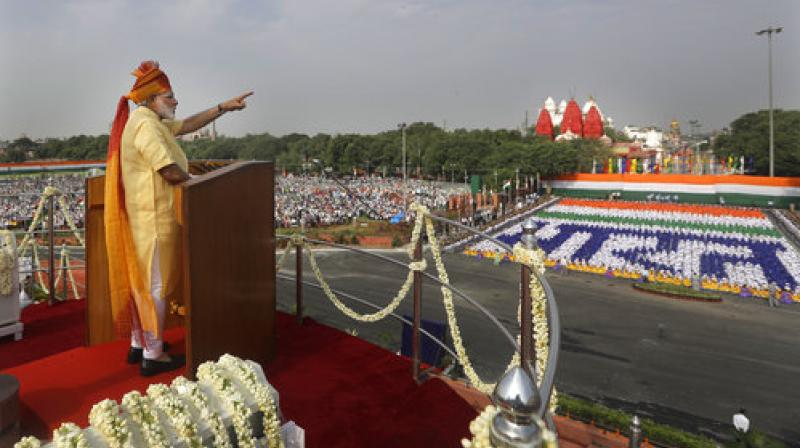 Indian Prime Minister Narendra Modi addresses the nation on the country's Independence Day from the ramparts of the historical Red Fort in New Delhi. (Photo: AP)