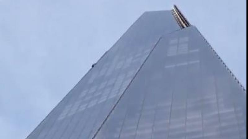 Man climbing the Shard skyscraper in London. (Photo: Screengrab/PA media)