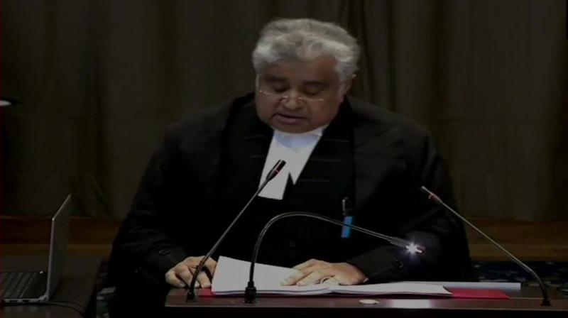 Harish Salve who is representing India and Jadhav said it is an egregious violation of the Vienna Convention. (Photo: ANI   Twitter)