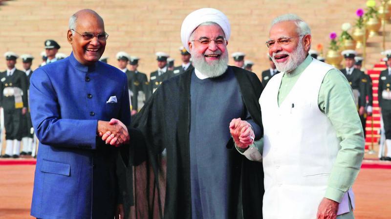 Iranian president Hassan Rouhani holds hands with President Ram Nath Kovind and Prime Minister Narendra Modi at Rashtrapati Bhavan, New Delhi, on February 17.