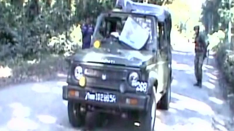 The militants first triggered an IED blast, which was followed by indiscriminate fire on a Maruti Gypsy and a truck in which army soldiers were travelling. (Photo: ANI)