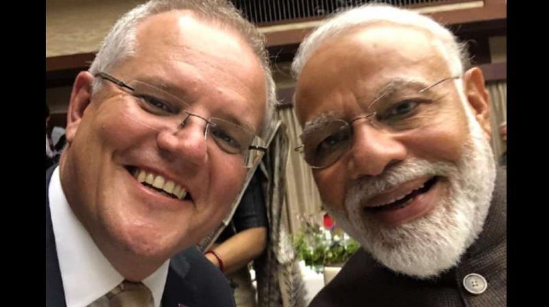 Australian Prime Minister Scott Morrison and Prime Minister Narendra Modi