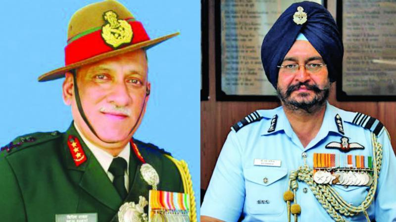 Lt. Gen. Bipin Rawat and Air Marshal B.S. Dhanoa