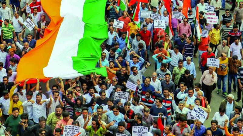 Various right-wing organisations take part in a rally in support of the Citizenship Amendment Act in Nagpur on Sunday. (Photo: PTI)