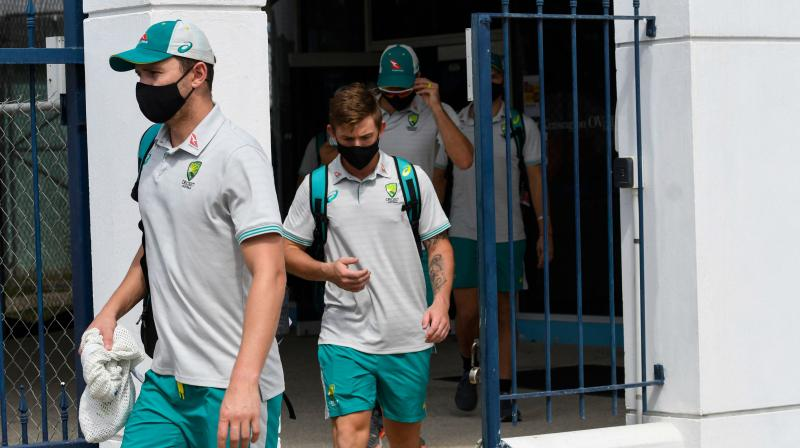 Australia players leaving the abandoned 2nd ODI between West Indies and Australia at Kensington Oval, Bridgetown, Barbados. (Photo: AFP)